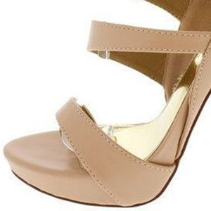 The Shoe Loft Shoes - Seraphina Nude Strappy Open Toe Heel